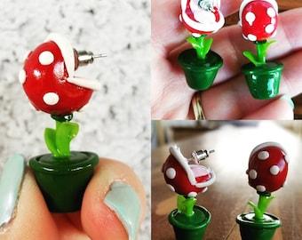 Super Mario Inspired Original Piranha Plant Earrings - Dangle earrings - Polymer Clay - Gamer Jewelry - Gift for Her - Gamer Girl - Classic