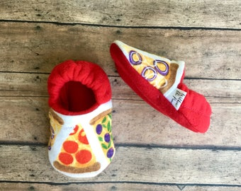 Pepperoni Pizza Baby & Toddler Moccasins - Soft Sole Crib Shoes - Baby Booties - Nonslip Slippers - Humor Baby - Baby Shower Gift - Birthday