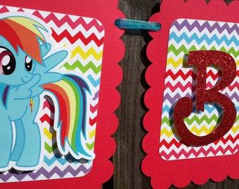 My Little Rainbow Dash Pony birthday party banner
