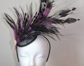 Black and purple feather fascinator, wedding fascinator, 1920s style fascinator, Great Gatsby fascinator, feather headpiece