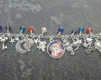 Disney alice in wonderland inspired charm bracelet