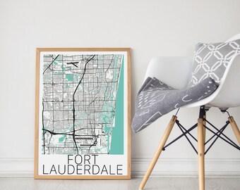Fort Lauderdale Map Poster / Ft Lauderdale Poster / Fort Lauderdale / Florida Map Print / Fort Lauderdale Map / Wall Art/Map Art/Florida Art