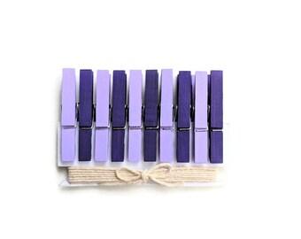 Lavender & Dark Purple Decorative Clothespins. Mini Clothes Pins. Mini Clothespins. Purple Baby Shower Clothespins. Purple Party Favors. Peg