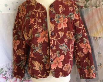 SMALL/MEDIUM Jacket, Woven Tapestry Bohemian Flowerchild Boho Short Jacket