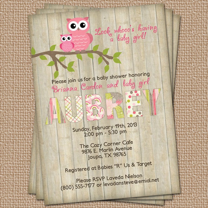 Owl baby shower invitation with wood background digital