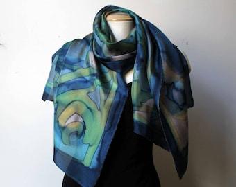 Large handpainted silk shawl
