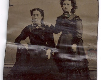 1/4 plate tintype Mother daughter  fashion civil war era tinted bow jewelry adolescent