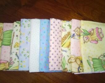 Fat Quarter Pack ~ 10 Coordinating Flannel Fat Quarters 100%Cotton