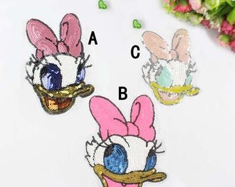 Daisy Duck Sequin Patches for Pillow/Clothing/Coat/T-Shirt DIY, Disney Patch Cartoon Sequin Applique BF80
