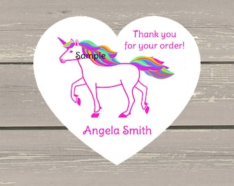 120 Large White Unicorn Heart Printed Customer Thank You Stickers Seals Can be used on your Lula packages