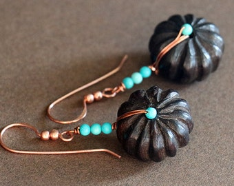 Turquoise and Wood Copper Wrap Drop Earrings