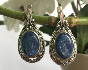 Statement Earrings, Kyanite Earrings, Blue Kyanite, Vintage Earrings, Long Blue Earrings, Antique Earrings, Vintage Kyanite, Silver Earrings