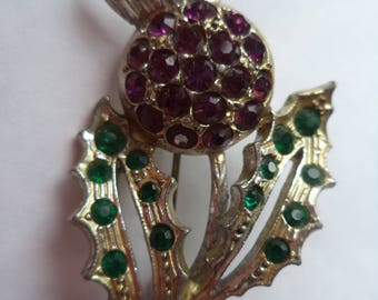 Vintage Unsigned Silvertone/Purple and Green Rhinestone Scottish Thistle Brooch/Pin