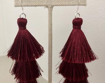Burgundy silk tassel earrings