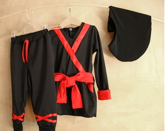 Ninja child costume Tunic trousers belt balaclava, Playsuit Ninjago Teenage, Mutant Turtles dress, kids gift, Cosplay Children school play