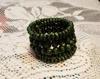 Wooden beads on a memory wire bracelet