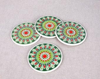 Drink Tile Coaster, Ceramic Coaster Set, Green Ceramic Coaster, Mandala Coaster, Mediterranean Ceramic, Greek Ceramic Art, Mandala Decor