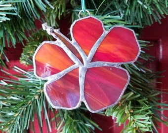 Hibiscus Flower, iridescent red, stained glass, ornament, Sun Catcher