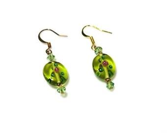 Lime Green Czech Bead Dangle Earrings Crystal Drop Earrings Hypoallergenic Earrings Nickel Free Earrings Beaded Glass Jewelry Gifts for Her