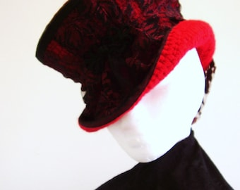 Neo Victorian Steampunk Red Mad Hatter riding hat - Le Rouge Comtesse