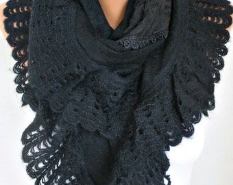 Black Knitted Scarf Shawl Cowl Lace Oversized Bridesmaid Gift Bridal Accessories Gift Ideas For Her Women Fashion Accessories,Wedding Scarf