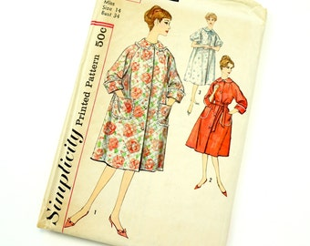 Vintage 1960s Womens Size 14 Robe Housecoat Simplicity Sewing Pattern 3216 Complete / bust 34 waist 26