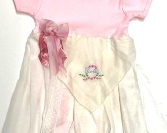 VIOLET monogram 6-12 months Hankie Babies vintage hankie onesie dress