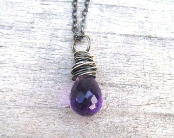 Purple Amethyst Necklace,  Oxidized Sterling Silver,  February Birthstone, Amethyst Pendant,  Layering Necklace,  Natural Amethyst Jewelry