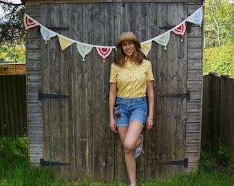 Women's retro print shirt
