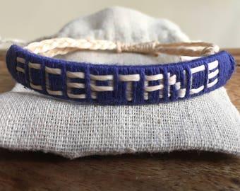 Acceptance Bracelet, inspiring gift, inspiring jewellery, affirmation bracelet