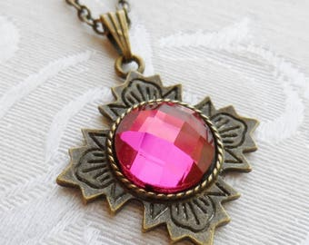 75% Off Sale Pink Faceted Glass Necklace