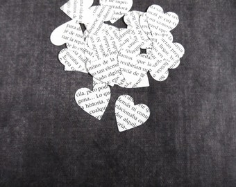 200 Spanish Text Hearts, Handmade Die Cuts, Party Decor, Confetti, Weddings, Showers