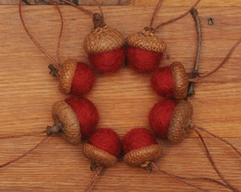 Red Felted Acorns or Acorn Christmas Ornaments