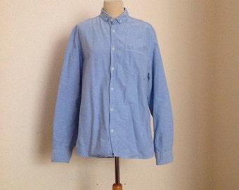 Burton Light Blue Button Down Oxford Shirt Mens Large
