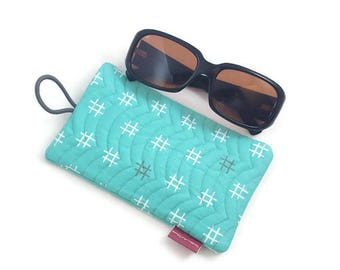 Handmade Quilted Front Cotton Fabric Sunglasses Case With Elastic and Button Closure in Mint With White and Grey
