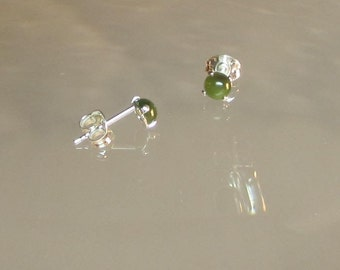 Tiny Jade Earrings Natural Nephrite Jade Set in Sterling Silver or 14Kt Gold Filled Stud Posts