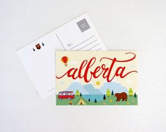 Let's Camp Alberta Postcard | Handdrawn Illustration Print | Alberta, Canada