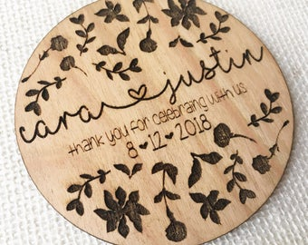 Wedding Favor Coaster - Wooden Engraved Wedding Favor - Personalized Wedding Guest Gift - Greenery Favor - Rustic Botanical Wedding Gift