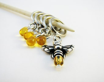 Honeybee and Drops of Honey Non-Snag Stitch Markers