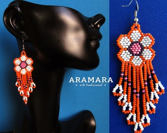 Native american earrings, Beaded Flower, Flower Earrings, Mexican Jewelry, Huichol Earrings, Mexican earrings, Mexican folk art, AF-0214