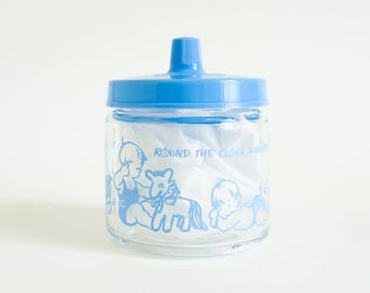 Vintage 1950s Baby Vanity Jar VGC / Glass Blue Celluloid Round the Clock with Baby / Retro Nursery Decor Storage