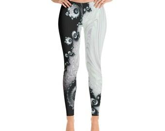 Black and White Fractal Leggings, Festival Fractal Leggings and Clothing,Mandelbrot Design Clothing,Sacred Geometry Spandex Polyester Tights
