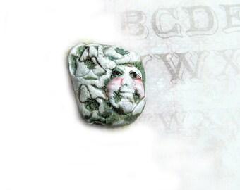Focal bead - one of a kind bead - handmade face bead -  handmade clay bead - green bead - OOAK bead -     # 149