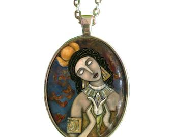 Hathor Goddess  Pendant- Egyptian Goddess of Art and Music - Statement Necklace - Goddess Jewelry - Goddess Art - girlfriend gift necklace