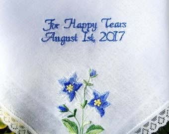 Wedding Gift For Happy Tears Date Hankerchief Embroidered Wedding gift handkerchief by Canyon Embroidery
