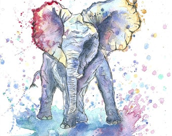 Baby Elephant Watercolour Art Print