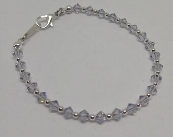 Smoky Mauve (Pale Lilac-Gray) Swarovski Crystal and Steel Bracelet