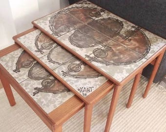 Mid Century Danish Tiled Tables Nest Original Vintage Teak Abstract Tiles