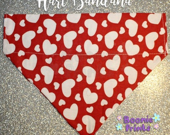 Dog Bandana - Harts - Red and White - Valentines Day - Can Be Personalised - Various Sizes