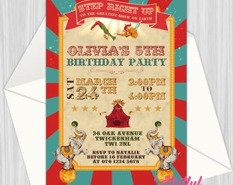 Printable Retro Trapeze Circus Invitation | Personalized